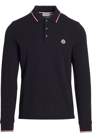 Moncler Men's Long-Sleeve Jersey Polo Shirt - - Size Medium