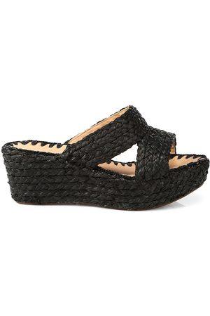 Carrie Forbes Women's Bella Raffia Platform Wedge Mules - - Size 37 (7)