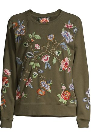 JOHNNY WAS Women's Renata Raglan Embroidered Sweatshirt - - Size Large