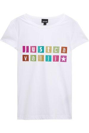Roberto Cavalli Woman Glittered Printed Cotton-jersey T-shirt Size L