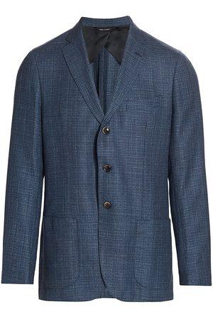 Saks Fifth Avenue Men's COLLECTION Basket Weave Wool & Silk Jacket - - Size 38 S