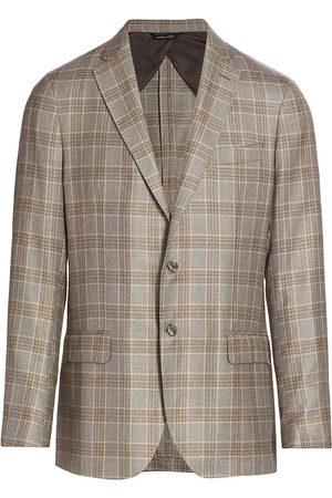 Saks Fifth Avenue Men's COLLECTION Windowpane Plaid Silk & Cashmere Sportscoat - - Size 42 R