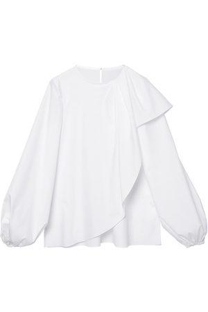 Carolina Herrera Women's Puff-Sleeve Cascade Poplin Blouse - - Size 8