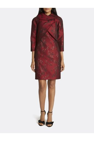 Tahari ASL Women Printed Dresses - Metallic Jacquard Wrap Collar Jacket Dress Skirt Suit Tonal Floral Size: 10