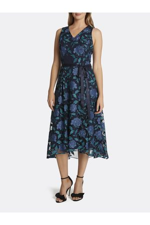 Tahari ASL Women Printed Dresses - Floral Lace Hi-Low Dress Navy Teal Peony Size: 10