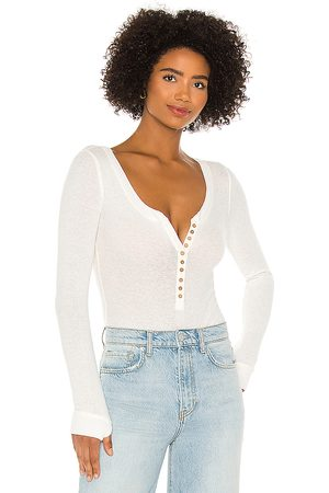 Free People Dylan Thermal Bodysuit in Ivory.