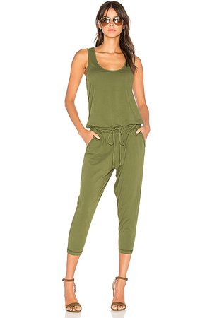 Bobi Supreme Jersey Sleeveless Jumpsuit in Green.