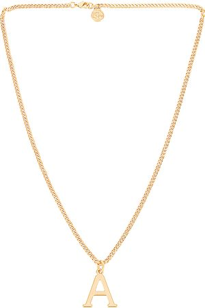 Cloverpost Serif Necklace in Metallic Gold.