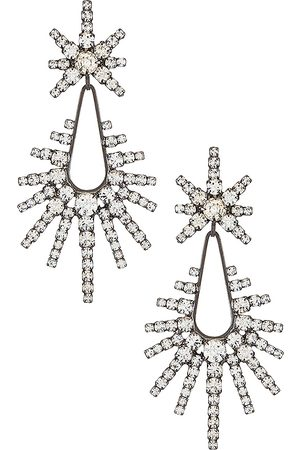 ELIZABETH COLE Remington Earrings in Metallic Silver.