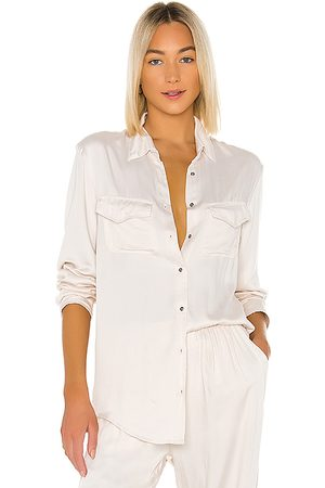Indah Emma Solid Long Sleeve Button Up Shirt in Ivory.