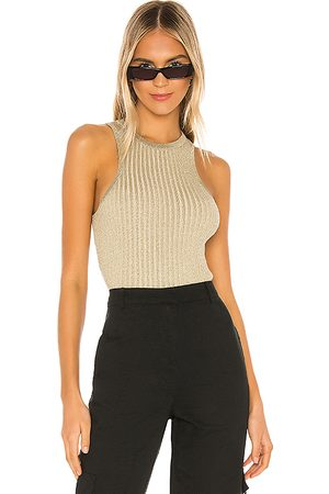 superdown Sonya Rib Sweater Tank in Metallic .