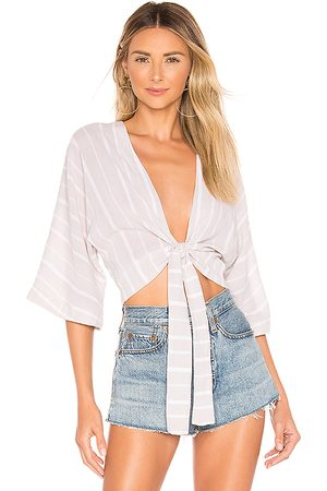 Indah Luke Wrap Top in Gray.
