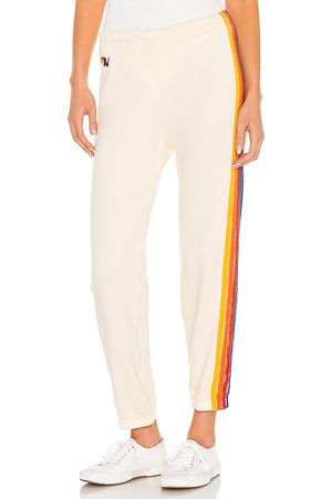 AVIATOR NATION 5 Stripe Sweatpant in Ivory.