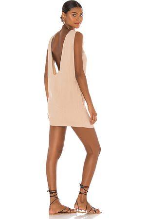Indah Pella Plunge Mini Dress in Tan.