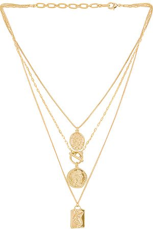 Amber Sceats Layered Coin Necklace in Metallic .