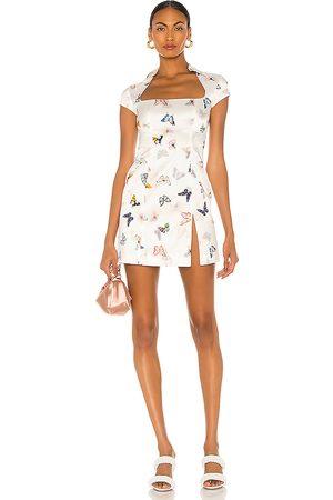 KIM SHUI Butterfly Silk Mini Dress in .