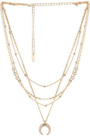 Ettika Layered Moon Necklace in Metallic .