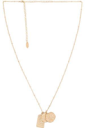Ettika Long Coin Necklace in Metallic .