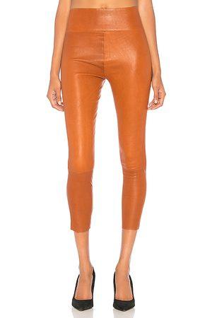 SPRWMN High Waist 3/4 Leather Legging in Brown.