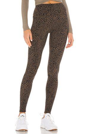 alo Leopard High Waist Vapor Legging in Olive.