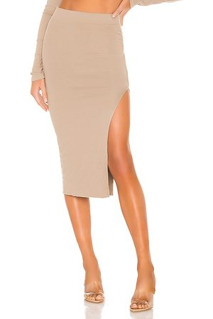 Cotton Citizen X REVOLVE Melbourne Midi Skirt With Slit in Taupe.
