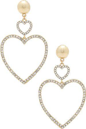 Ettika Women Earrings - Two Hearts Drop Earrings in Metallic .