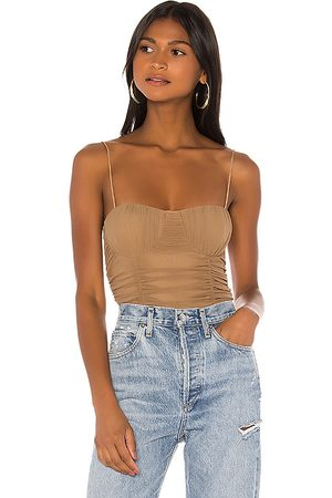 Lovers + Friends Albany Bodysuit in Taupe.