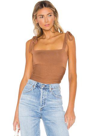 MAJORELLE Lauren Bodysuit in Brown.