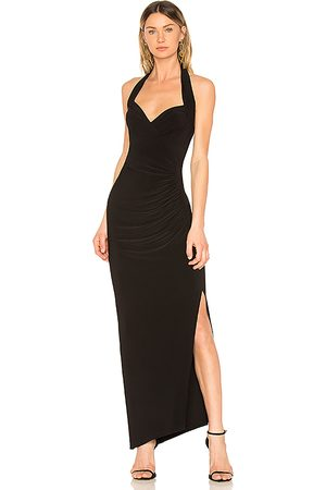 Norma Kamali Halter Sweetheart Side Drape Gown in .