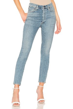 Citizens of Humanity Olivia High Rise Slim Ankle in Blue.