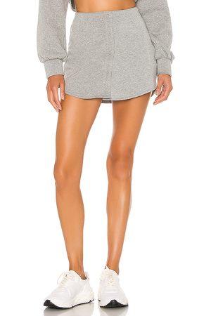 DANIELLE GUIZIO Fleece Button Skirt in Gray.