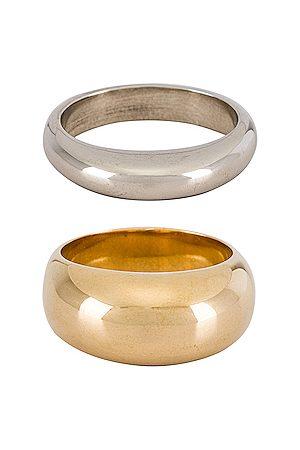 Soko Organic Mixed Metal Ring in Metallic Gold.