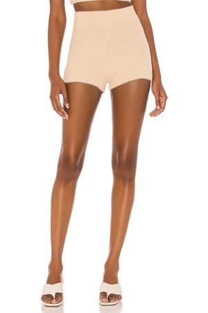 Camila Coelho Toni Knit Shorts in Tan.