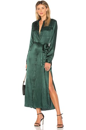 L'Academie The Long Sleeve Shirt Dress in Green.