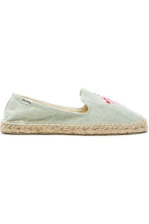 Soludos Flamingo Embroidered Espadrille in Blue.
