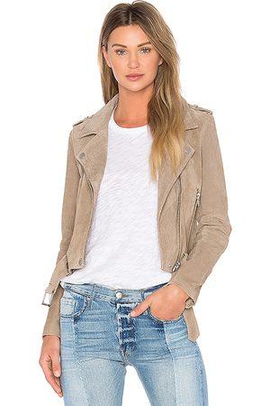 BLANK NYC Suede Moto Jacket in Brown.