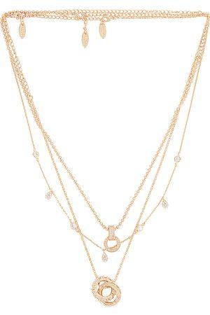 Ettika Layered Pendant Necklace in Metallic .