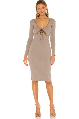 NBD Bowery Midi Dress in Taupe.