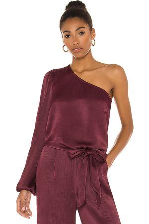 Bobi BLACK Sleek Textured Woven One Shoulder Top in .