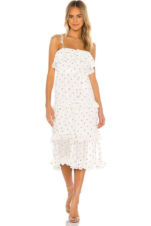 MAJORELLE Edna Midi Dress in White.