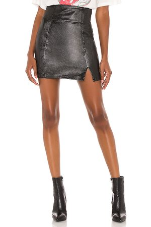 Free People Holding Onto A Dream Coated Denim Mini Skirt in .