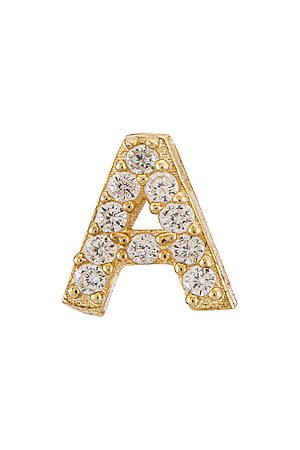 Adina's Jewels Pave Initial Stud Earring in Metallic .