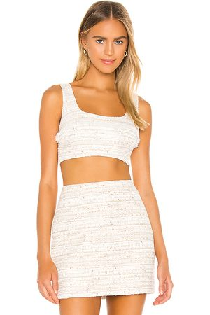 L'Academie The Risa Crop Top in Ivory.