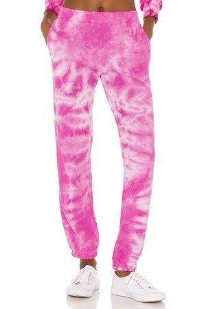 MONROW Crystal Tie Dye Boyfriend Sweats in Pink.