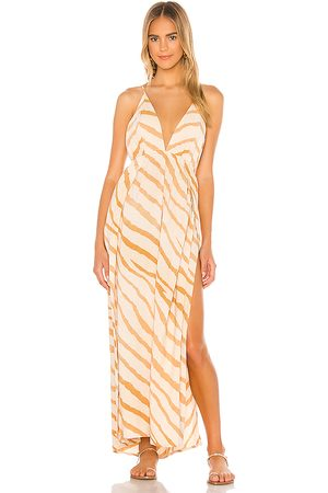 Indah River Triangle Plunge Wrap Skirt Maxi Dress in Tan.