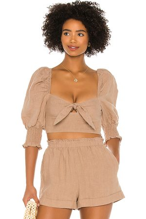 MAJORELLE Conway Top in Tan.