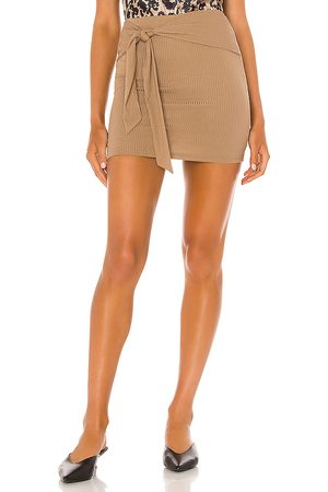Lovers + Friends Justina Tie Mini Skirt in Brown.