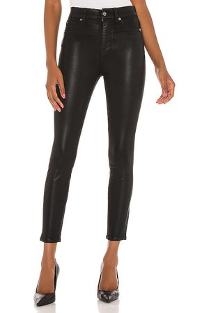 7 for all Mankind The High Waist Ankle Skinny With Faux Pockets in Black.