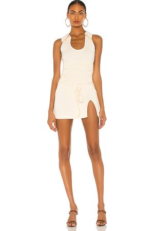 KIM SHUI Stretch Cotton Dress in Ivory.