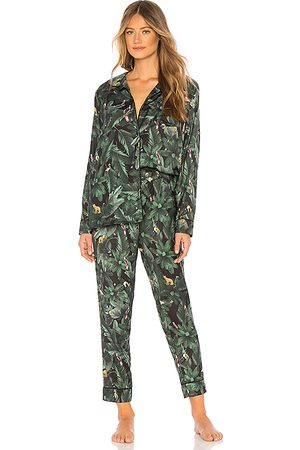 Plush Silky Jungle Print PJ Set in Green.